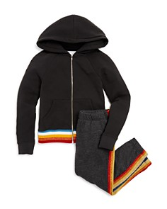 Spiritual Gangster - Girls' Rainbow-Striped We Are One Hoodie & Jogger Pants - Little Kid, Big Kid